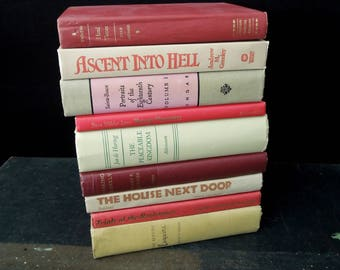 Book Stack for Home Staging Decor - Red Taupe Beige Books by Color - Vintage Bookshelf Decor