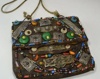 Vintage Moroccan Leather Purse with elaborate bead & stone design Bohemian style
