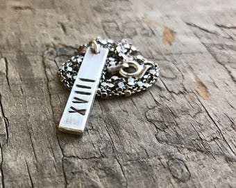Roman Numeral Necklace Sterling Silver Bar Unisex Mens or Women's Personalized Date Bar