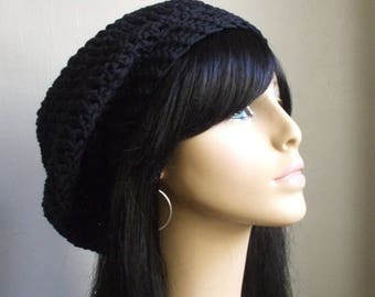 COTTON Crochet Women Slouchy Hat BLACK Tam Beret Hat Summer Beach Hat aWeSomE HaT