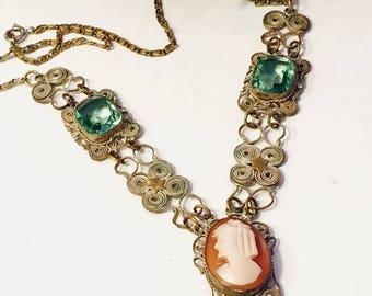CIJ SALE Christmas JULY Beautiful Art Nouveau Art Deco Italian Silver Filigree Cameo Green Crystal Vintage Necklace
