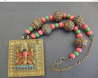 CIJ SALE Christmas JULY Beautiful Hindu God Goddess Lakshmi Art Glass Antique Bead Vintage Necklace
