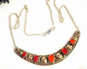 CIJ SALE Christmas JULY Beautiful Sterling Silver Brass Gold Carnelian Crescent Vintage Neckalce