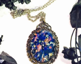 CIJ SALE Christmas JULY Beautiful Art Nouveau Art Deco Silver Filigree Italian Blue Pink Foil Art Glass Vintage Necklace