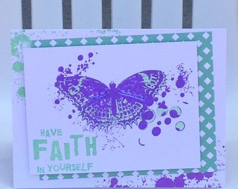 Faith in Yourself, Inspiring Words, Encouragement Card, Butterfly Card