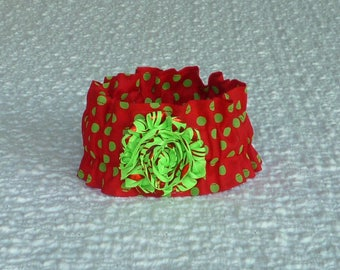 """Green Dots on Red Christmas Dog Scrunchie Collar with lime green shabby with red metallic red stripes: S 12"""" to 14"""" neck"""