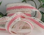 """Pink Velvet & Crochet Lace Ribbon, 1"""" wide by the yard, Velvet Chokers, Gift Wrapping, Pink Velvet Trim, Baby Girl, Velvet Trim, Sewing"""