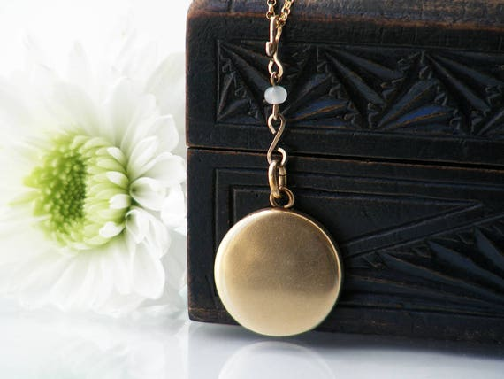 Antique Locket | Matte Gold Victorian Locket Necklace | Moonstone Bead Drop | Vintage Plain Round Bloomed Gold Photo Locket - 20 Inch Chain