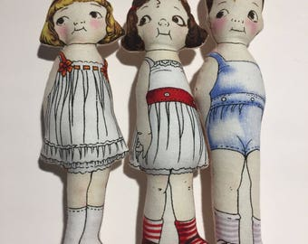 6 inch vintage inspired plush dolls dolly dingles great friends for Blythe dolls