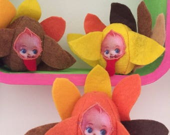 Miniature turkey kewpies! Set of three!