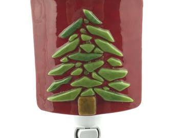 Night Light, Evergreen Tree, Red Art Glass, Plug In