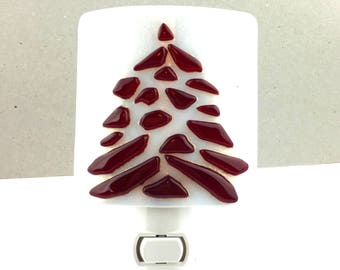 Plug In Night Light, Red and White Art Glass, Tree Design