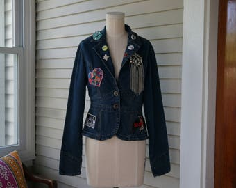 Upcycled Blue Jean Jacket Embellished with Assorted Patches, Band Logos, Band Buttons & Vintage Pins