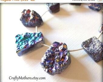 7% off SHOP SALE Last One! RAINBOW Titanium Druzy Agate Slab Beads, asst. sizes, iridescent, earrings, focal, pendant, unique