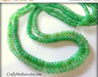 7% off SHOP SALE CLEARANCE, Light Green Chrysoprase Smooth Rondelles, 2 inch strand, Select a size, luxe rare natural gems