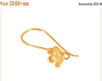 8% off SHOP-WIDE, Bali 24kt ROSE Gold Vermeil Large Flower Ear Wires, 25mm x 15mm, artisan-made supplies - Select a quantity