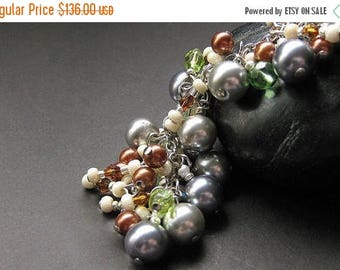 SUMMER SALE Pearl Charm Bracelet, Earring Set. Handmade Jewelry by Gilliauna