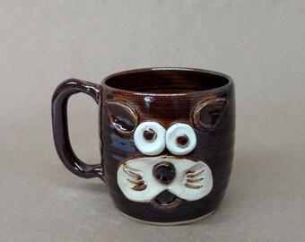 Cat lover Coffee Mug. Animal Teacup Styles by Nelson Studio. Dark Chocolate Black Handcrafted Stoneware Drinkware. Food Safe UgChug Mug