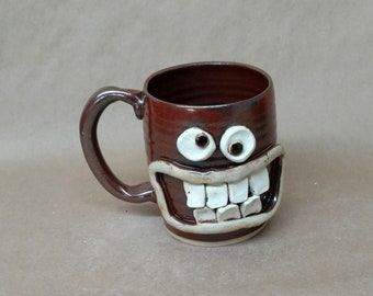 NEW Gym Junkie Working Out Exercise Mug Funny Mans Coffee Cup Weight Lifting Beer Tankard. Nelson Studio Ug Chug Face Mugs. Ceramic Pottery.