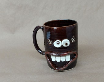 Big 32 Ounce Handmade Pottery Mug in Black. Microwave and Dishwasher Safe UgChug Cup by Nelson Studio of Alabama. Mother's Day Gift.