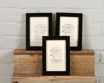 """4x6"""" Picture Frame in PeeWee Style with Solid Black Finish - Same Day Shipping - IN STOCK - Gallery Frame 4 x 6 inches Black"""