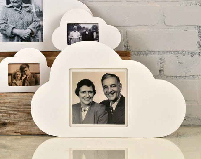 "Cloud Shape Square Opening Picture Frame with Solid White Finish - 5.5 x 5.5"" Viewing Area 6 x 6 inch Back Opening - IN STOCK Same Day Ship"