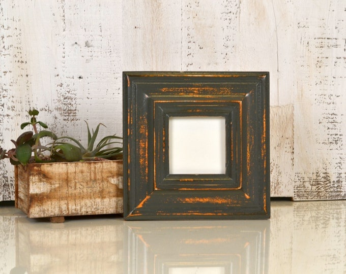 3x3 Picture Frame in Mulder Style with Super Vintage Orange under Sable Finish - IN STOCK - Same Day Shipping - 3 x 3 Square Photo Frame
