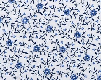 Delft Blue cotton fabric - Dutch blue flower print - Fat Quarter