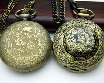 Steampunk Pocket Watch, Bronze and Black Dragon Watch, Optional Pocket Watch Chain or Necklace Chain Watch - QPW1423