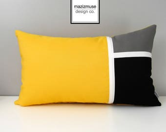 Sunflower Yellow Sunbrella Outdoor Pillow Cover, Decorative Color Block Pillow Cover, Modern Grey Yellow & Black Cushion Cover, Mazizmuse
