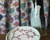 Plate Salad Plate Luncheon Plate Art Plate Cherry Blossom Blue Celadon Stoneware Plate Handmade Plate
