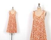 Vintage 1970s Dress / 70s Batik Cotton Tent Dress / Brown and White ( S M L )
