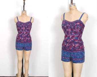 Vintage 1950s Playsuit / 50s Cotton Batik Printed Cotton Romper / Blue and Purple ( medium M )
