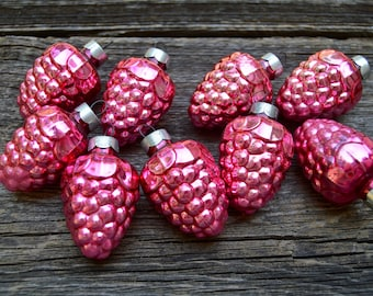 9 Vintage Glass Pink Grape Ornaments . Vintage Cluster Grapes . Christmas Ornament