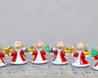 6 Vintage Christmas Porcelain Angel Candle Holders. Christmas Decor. Ornament 1960s/Christmas Collectible