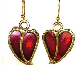 Hearts earrings: hearts copper and brass earrings. valentines gift for her aquarius birthday gifts