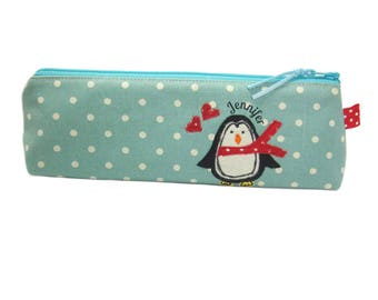 Personalised Pencil Case, Back to School Gift, Blue Penguin Zip Pouch, Cute Kids Pencil Bag, Custom Gift For Children