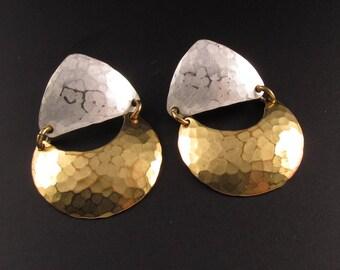 Marjorie Baer Brass Earrings, Marjorie Baer Artisan Earrings, Brass and Silver Earrings, Mixed Metal Earrings, Statement Earrings