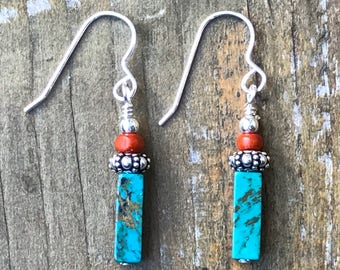 Turquoise Wood and Sterling