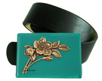 Belt Buckle Art Nouveau Floral Design Inlaid in Hand Painted Teal Enamel Belt Buckle for Snap Belts Custom Colors Available