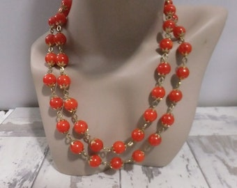 Vintage Necklace Bead Two Double Strand Orange Plastic Beads Gold Tone Hong Kong Stamped Retro Costume Jewelry