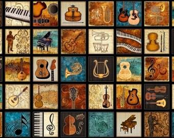 """Encore Music Instruments Black Blocks Quilting Treasures Fabric 24"""" Panel"""