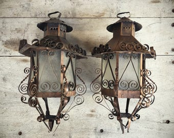 Vintage 1960s Mexican tin and pressed glass hanging lantern, Spanish Revival lantern, metal scrollwork, Mexican lantern