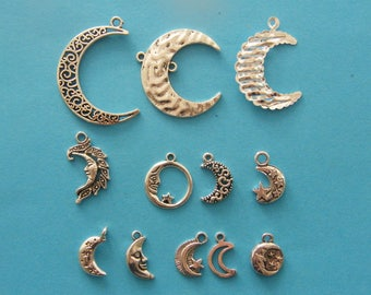 The Moon Collection - 12 different antique silver tone charms