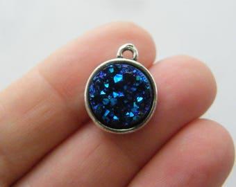 4 Dark blue resin druzy antique silver tone charms M866