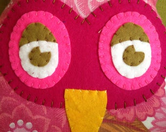 Handmade retro owl cushion