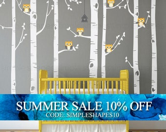 Birch Tree Wall Decal, Birch Tree With Owls Wall Sticker Set, Birch Tree Decal, Baby Nursery Wall Stickers W1112