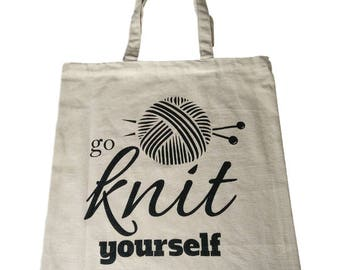 Cotton Tote Project Bag Go Knit Yourself for Crochet Knitting Yarn Shopping