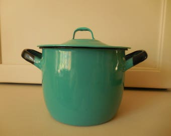 Small Enamel Aqua Lidded Pot