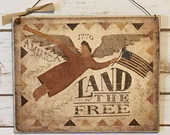 Americana,1776,Americana Decor,Folk Art Angel,Land Of The Free,Patriotic Sign,Wood Sign,Angel Sign